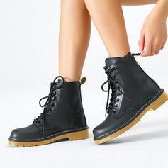 Pentru Femei Imitaţie de Piele călcâi inferior Închis la vârf Cizme Deget rotund Ghete Martin cu Lace-up pantofi