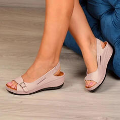 Женский PU Танкетка Сандалии Peep Toe босоножки с пряжка Выдолбить обувь
