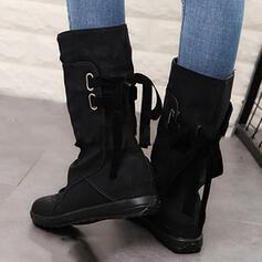 Női Műbőr Lapos sarok Csizma Mid-Calf Csizma -Val Lace-up cipő