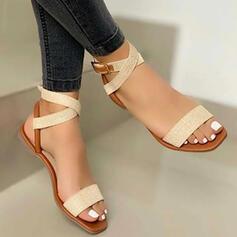 Kvinner PU Flat Hæl Sandaler Titte Tå med Spenne Hul ut sko