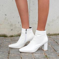 Női PU Chunky sarok Cone sarok Bokacsizma Alacsony felső Sarok -Val Cipzár Szolid szín cipő