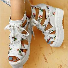 Dla kobiet PU Obcas Koturnowy Sandały Platforma Koturny Otwarty Nosek Buta Obcasy Z Klamra Kwiaty W kratke obuwie