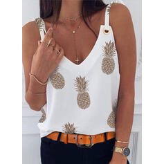 Print Strap Sleeveless Casual Tank Tops