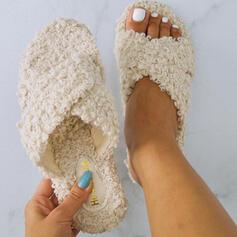 Mulheres Tecido Sem salto Chinelos com Pele Outros sapatos