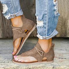 Dla kobiet PU Płaski Obcas Sandały Plaskie Otwarty Nosek Buta Japonki Z Zamek błyskawiczny obuwie
