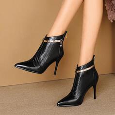 Pentru Femei PU Toc Stiletto Botine Tocuri Cu vârful cu Paietă Culoare solida pantofi