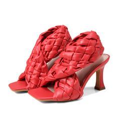 PU Toc Stiletto Sandale Încălţăminte cu Toc Înalt Puţin decupat în faţă Piciorul pătrat cu De la gât înafară Bretea Împletită pantofi