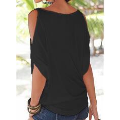 Jednobarevný Odhalená Ramena 1/2 rukávy Neformální Sexy Bluze