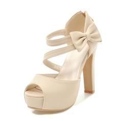 Mulheres PU Salto robusto Sandálias Bombas Plataforma Peep toe com Bowknot sapatos