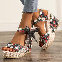 Kvinnor Duk Kilklack Sandaler med Bowknot Bandage skor