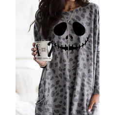 Print Leopard Halloween Pockets Round Neck Long Sleeves Sweatshirt