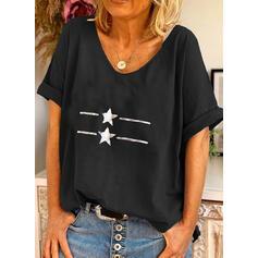Nadruk Okrągły dekolt Krótkie rękawy Casual T-shirty