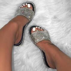 Mulheres PU Sem salto Sandálias Chinelos com Strass Espumante Glitter sapatos