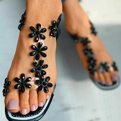 Women's PU Chunky Heel Sandals Peep Toe Slippers Heels With Hollow-out Flower shoes
