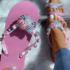 Women's Fabric Flat Heel Sandals Peep Toe Flip-Flops Slippers With Rhinestone shoes