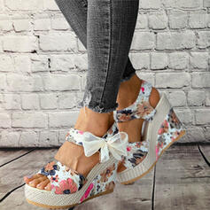 ткань Танкетка Сандалии Платформа клинья Peep Toe Каблуки с Bowknot Выдолбить обувь