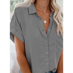 твердый отворот С коротким рукавом Кнопка вверх Повседневная Рубашка Блузки