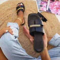 Dámské PU Placatý podpatek Sandály Boty Bez Podpatku S otevřenou špičkou Pantofle S Řetízkový Vydlabaný obuv