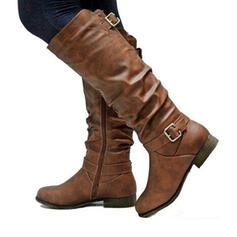 Mulheres PU Salto baixo Toe rodada com Fivela Ruched Zíper Cor sólida sapatos