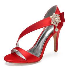 Women's Silk Like Satin Stiletto Heel Peep Toe Pumps Sandals With Imitation Pearl Rhinestone Pearl Button Velcro