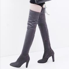 Bayanlar Süet Topuklu ayakkabı Tıknaz Topuk Diz Çizmesi Üzerine Ile Fermuar Bağcıklı ayakkabı ayakkabı