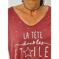 Nadruk Figura Dekolt w kształcie litery V Krótkie rękawy Casual T-shirty