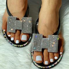 Mulheres PVC Sem salto Sandálias Peep toe Chinelos com Strass sapatos