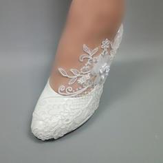 Konstläder Stilettklack Stängt Toe Pumps med Beading Stitching Lace