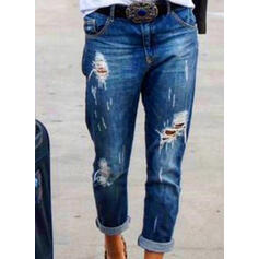 Shirred Plus Size Ripped Casual Tribal Denim & Jeans