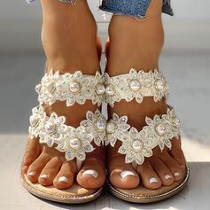 Vrouwen PU Flat Heel Slippers met Imitatie Parel Bloem schoenen