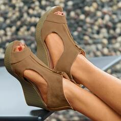 Dla kobiet Zamsz Obcas Koturnowy Sandały Koturny Otwarty Nosek Buta Obcasy Z Zamek błyskawiczny obuwie