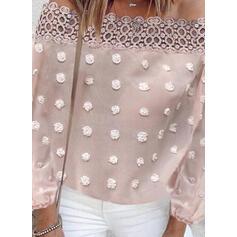 твердый кружевной С плеча Длинные рукова элегантный Блузы