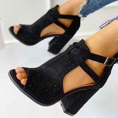 Dla kobiet Zamsz Obcas Slupek Sandały Otwarty Nosek Buta Z Klamra Tkanina Wypalana obuwie