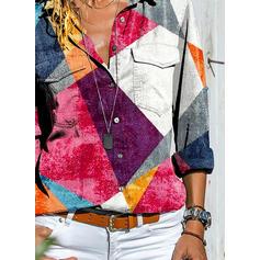 Цветной блок отворот Длинные рукова Кнопка вверх Повседневная Рубашка Блузки
