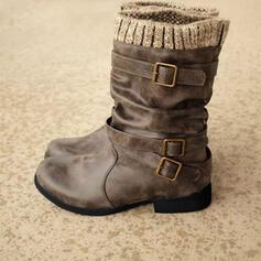 Pentru Femei PU Fară Toc Cizme Cizme până la jumătatea gambei Cizme de iarna cu Cataramă pantofi