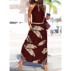 Imprimeu Kolsuz Bir Çizgi Patenci gündelik/Tatil Maxi Elbiseler