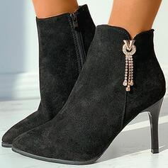 Pentru Femei Piele de Căprioară Toc Stiletto Botine Cu vârful cu Ştrasuri Fermoar Lanţ Culoare solida pantofi