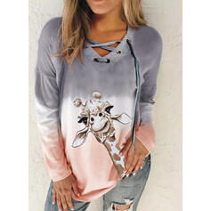 Animal Print Gradient V-Neck Long Sleeves Sweatshirt