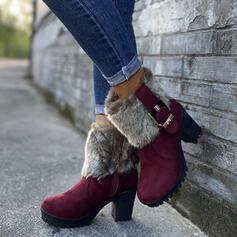 Pentru Femei PU Toc gros Botine Deget rotund Cizme de iarna Cizme de Iarnă cu Cataramă Blană pantofi