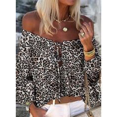 Распечатать леопард С плеча Длинные рукова Повседневная Блузы