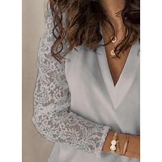 твердый кружевной V шеи Пуховик Длинные рукова элегантный Блузы