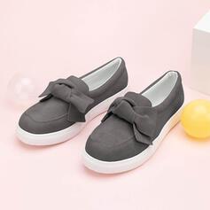 Női Szarvasbőr Lapos sarok Lakások -Val Csokornyakkendő Szolid szín cipő
