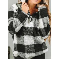 Grid Lapel Long Sleeves Sweatshirt