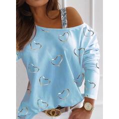 Potisk Flitry Inima Jedno rameno Dlouhé rukávy Neformální Bluze