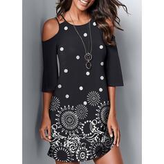 Print Cold Shoulder Sleeve Sheath Above Knee Casual Dresses