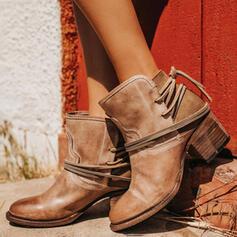 Kvinner PU Stor Hæl Pumps Lukket Tå Støvler Ankelstøvler med Spenne sko