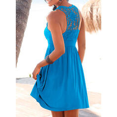 Lace/Solid Sleeveless A-line Above Knee Casual/Vacation Dresses