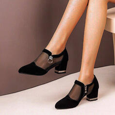 Women's Suede Chunky Heel Pumps With Zipper shoes
