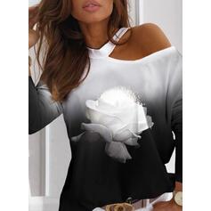 Nadruk Kwiatowy Gradient Na jedno ramię Długie rękawy Casual Bluzki