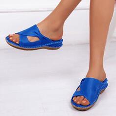 Donna Similpelle Zeppe Sandalo Ballerine Infradito con Fibbia Cava-out scarpe